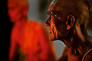 Newly initiated Naga Sadhus during the vijay hawan. They are brahmins at this time, they reamain as brahmins for a day during the process of their initiation as Naga. Initiation as a Naga Sadhu is a two day process and they go through a lot of rituals during these two days.<br /> <br /> Kumbh Mela, 2010, Haridwar, Uttarakhand.