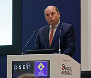 London, United Kingdom - 11 September 2019<br /> The Rt Hon Ben Wallace MP. Secretary of State for Defence for the UK Government presents keynote address speech to audience at DSEI 2019 security, defence and arms fair at ExCeL London exhibition centre.<br /> (photo by: EQUINOXFEATURES.COM)<br /> Picture Data:<br /> Photographer: Equinox Features<br /> Copyright: ©2019 Equinox Licensing Ltd. +443700 780000<br /> Contact: Equinox Features<br /> Date Taken: 20190911<br /> Time Taken: 12382723<br /> www.newspics.com
