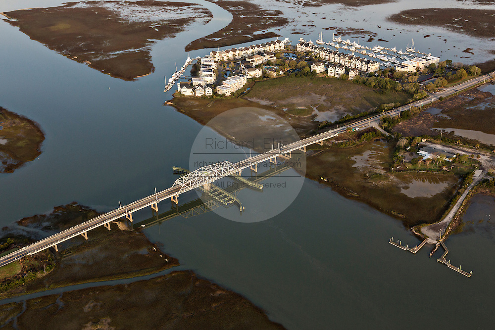 Aerial view of the Sullivan's Island swing bridge, Gold Bug Island and Tolers Cove in Mount Pleasant, SC.