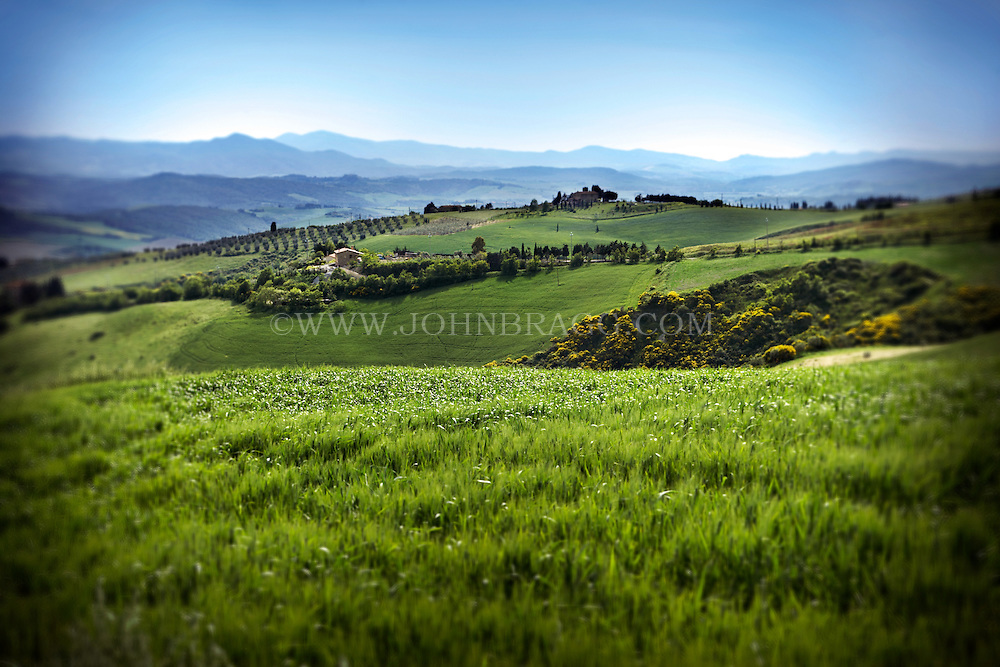 The rolling hills and scenic countryside of Tuscany, Italy.