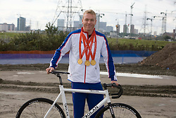 Chris Hoy, together with Mayor of London Boris Johnson, LOCOG Chairman Seb Coe, ODA Chief Executive David Higgins and Lee Valley Regional Park Authority Chief Executive Shaun Dawson visited the Olympic Park site today to unveil the latest VeloPark plans.Picture shows Chris Hoy at the London 2012 VeloPark site