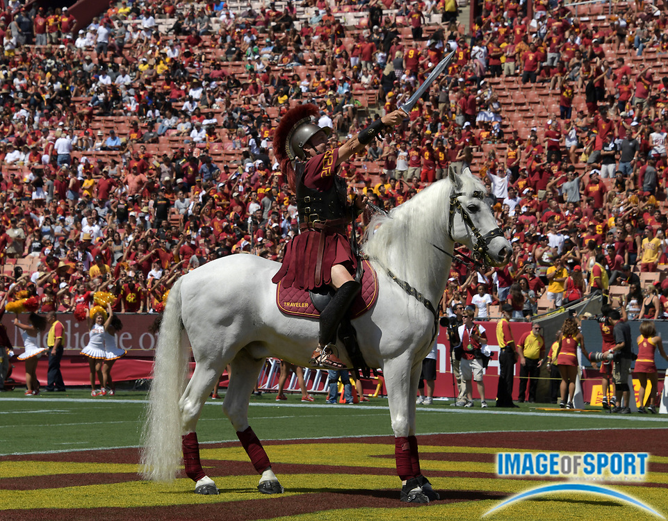 Sep 10, 2016; Los Angeles, CA, USA; USC Trojans white horse mascot Traveler with rider Hector Aguilar during a NCAA football game against the Utah State Aggies at Los Angeles Memorial Coliseum. USC defeated Utah State 45-7.