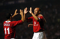 Mikael Silvestre celebrates scoring 1st goal with Ryan Giggs<br />Manchester United 2004/05<br />Manchester United v PSV Eindhoven<br />The Vodafone Cup 03/08/04<br />Photo Robin Parker Fotosports International