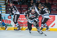 KELOWNA, CANADA - DECEMBER 2: Rourke Chartier #14 of Kelowna Rockets skates with the puck against the Kootenay Ice on December 2, 2015 at Prospera Place in Kelowna, British Columbia, Canada.  (Photo by Marissa Baecker/Shoot the Breeze)  *** Local Caption *** Rourke Chartier;