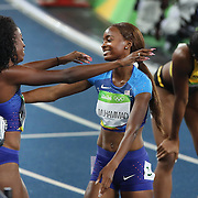 Athletics - Olympics: Day 13  Dalilah Muhammad of the United States is congratulated after winning the gold medal in the Women's 400m Hurdles Final by Ashley Spencer of the United States who won the bronze medal at the Olympic Stadium on August 18, 2016 in Rio de Janeiro, Brazil. (Photo by Tim Clayton/Corbis via Getty Images)