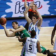 Panathinaikos's Konstantinos Tsartsaris (C) during their Euroleague Top 16 week 3 game 3 basketball match Fenerbahce Ulker between Panathinaikos at Fenerbahce Ulker Sports Arena in Istanbul Turkey on Thursday 02 February 2012. Photo by TURKPIX