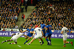 March 10, 2018 - Saint Denis, Seine Saint Denis, France - The Flanker of French Team KELIAN GALLETIER in action during the NatWest Six Nations Rugby tournament between France and England at the Stade de France - St Denis - France..France won 22-16 (Credit Image: © Pierre Stevenin via ZUMA Wire)