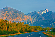 The Alalska Highway and the St. Elias Mountains at sunrise<br />Just north of Haines Junction<br />Yukon<br />Canada