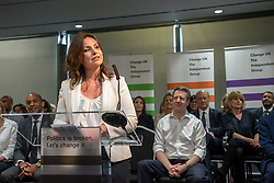 © Licensed to London News Pictures. 23/04/2019. Bristol, UK. HEIDI ALLEN MP at the Change UK – The Independent Group's European election campaign launch at We The Curious in Bristol's Millennium Square. Photo credit: Simon Chapman/LNP