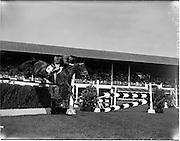 "2/08/1960<br /> 08/02/1960<br /> 02 August 1960<br /> R.D.S Horse Show Dublin (Tuesday). Lieut. E.P. O'Donohoe, Ireland, on ""Cill an Fhail"", at the Dublin Horse Show."