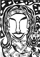 Illustration in pen and ink of woman's face with many eyes