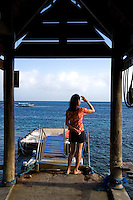 El Galleon boat pier at La Laguna Beach, Puerto Gallera from where boats come and go on diving expeditions.