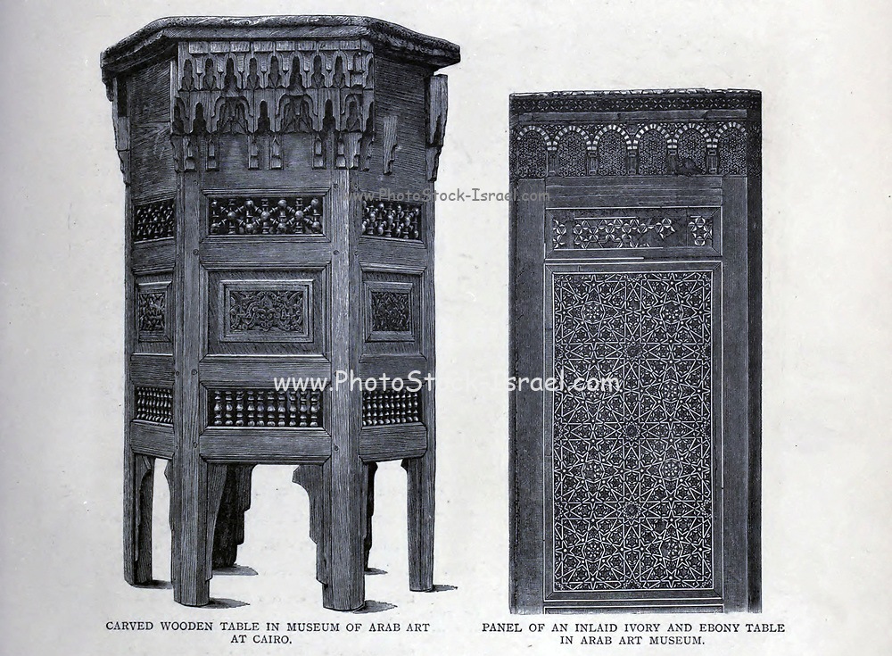 Carved Wooden Table from the Museum of Arab Art, Cairo wood engraving From the book 'Picturesque Palestine, Sinai and Egypt : social life in Egypt; a description of the country and its people' with illustrations on Steel and Wood by Wilson, Charles William, Sir, 1836-1905; Lane-Poole, Stanley, 1854-1931. Published by J.S. Virtue in London in 1884