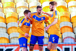 Jordan Bowery of Mansfield Town celebrates his opening goal with Stephen Quinn and Ryan Sweeney - Mandatory by-line: Ryan Crockett/JMP - 27/02/2021 - FOOTBALL - One Call Stadium - Mansfield, England - Mansfield Town v Morecambe - Sky Bet League Two