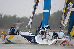 Ben Ainslie gains a penalty on Mathieu Richard during the quarter finals of the Monsoon Cup 2010. World Match Racing Tour, Kuala Terengganu, Malaysia. 4 December 2010. Photo: Subzero Images/WMRT