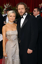 Russell Crowe and his girlfriend Danielle Spencer arriving at the 74th Annual Academy Awards (Oscars) at the Kodak Theatre in Hollywood, Los Angeles. Danielle's dress is by Giorgio Armani.  * 13/3/03: Crowe will marry his longtime girlfriend on April 7 at his country property in Australia, it was announced in Sydney. Crowes publicist Wendy Day said the Australian actor would wed Spencer in the family chapel on his property in New South Wales on April 7   Crowe s 39th birthday. Crowe, who was born in New Zealand, but raised in Australia, has starred in films including L.A. Confidential, The Insider and Gladiator - the sword-and-sandal epic for which he won a best actor Oscar in 2001.  *210703*Russell Crowe and Danielle Spencer arriving at the 74th Annual Academy Awards. The Oscar-winning actor announced Monday 21 July 2003 that he and his wife, Danielle, are expecting a baby. New Zealand-born Crowe told Australian TV the couple will become parents next January.