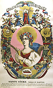 St Cecilia (Cecile) died c180 AD(?). Patron saint of Music. French 19th century coloured woodcut.