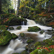 Waterfall with autumn colors, Besse, Auvergne, France