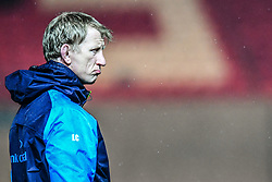 Leinster's Head Coach Leo Cullen during the pre match warm up<br /> <br /> Photographer Craig Thomas/Replay Images<br /> <br /> Guinness PRO14 Round 17 - Scarlets v Leinster - Friday 9th March 2018 - Parc Y Scarlets - Llanelli<br /> <br /> World Copyright © Replay Images . All rights reserved. info@replayimages.co.uk - http://replayimages.co.uk