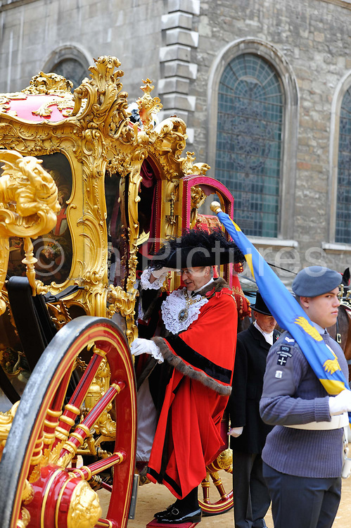 Horse drawn coach for the newly appointed Lord Mayor of the City of London Michael Bear during the traditional  Lord Mayor's parade through London.