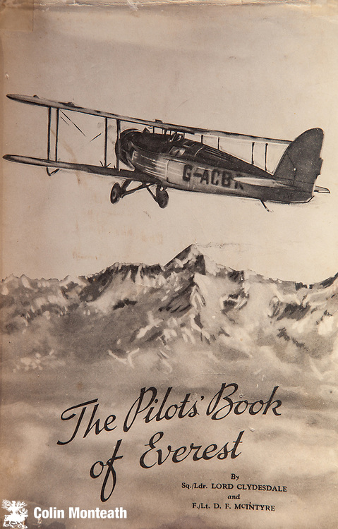 The Pilot's Book of Everest , Lord Clydesdale, Book cover 1936 - first flight over Mt Everest  from India over Nepal.