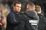 West Bromwich Albion manager Valerien Ismael  greets Derby County manager Wayne Rooney during the EFL Sky Bet Championship match between West Bromwich Albion and Derby County at The Hawthorns, West Bromwich, England on 14 September 2021.