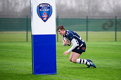Nathan Chamberlain (SGS College) of Bristol Rugby Academy U18 scores a try - Mandatory by-line: Paul Knight/JMP - 11/02/2017 - RUGBY - SGS Wise Campus - Bristol, England - Bristol Academy v Gloucester Academy - Premiership Rugby Academy U18 League