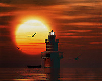 A lighthouse is meant to be a beacon for navigation. You can find a lighthouse along the coast anywhere in the world. In modern times, a lighthouse did lose some of its function due to more advanced technology; However, a lighthouse still retains its romantic function for many.<br /> This painting easily brings the atmosphere of the sea to your home. This coastal scene can be printed in different sizes and on different materials. Both on canvas, wood, metal or framed so it certainly fits into your interior. –<br /> -<br /> BUY THIS PRINT AT<br /> <br /> FINE ART AMERICA / PIXELS<br /> ENGLISH<br /> https://janke.pixels.com/featured/1-newport-lighthouse-with-a-sunset-jan-keteleer.html<br /> <br /> <br /> WADM / OH MY PRINTS<br /> DUTCH / FRENCH / GERMAN<br /> https://www.werkaandemuur.nl/nl/shopwerk/De-Vuurtoren-van-Newport-met-een-zonsondergang-en-Cumuluswolken/782395/132?mediumId=15&size=70x55<br /> –<br /> -