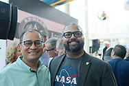 Garden City, New York, U.S. July 20, 2019.  L-R,  SANDEEP CHAKRAVORTY, the Counsul General of Consulate General of India in NY, and NYS Senator KEVIN THOMAS pose for photo at the Moon Fest Apollo at 50 Countdown Celebration at Cradle of Aviation Museum in Long Island, held during the same time Apollo 11 Lunar Module landed on the Moon 50 years ago.