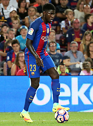 August 10, 2016 - Barcelona, Catalonia, Spain - Samuel Umtiti during the match corresponding to the Joan Gamper Trophy, played at the Camp Nou stadiium, on august 10, 2016. (Credit Image: © Joan Valls/NurPhoto via ZUMA Press)