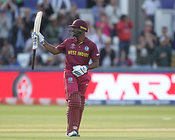 July 1, 2019 - Chester Le Street, County Durham, United Kingdom - Nicholas Pooran of West Indies celebrates after scoring a hundred                        during the ICC Cricket World Cup 2019 match between Sri Lanka and West Indies at Emirates Riverside, Chester le Street on Monday 1st July 2019. (Credit Image: © Mi News/NurPhoto via ZUMA Press)