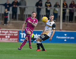 Arbroath's Ricky Little and Dumbarton's Dom Thomas. half time : Arbroath 0 v 1 Dumbarton, Scottish Football League Division One played 20/10/2018 at Arbroath's home ground, Gayfield Park.