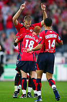 Fotball<br /> Frankrike<br /> Foto: Dppi/Digitalsport<br /> NORWAY ONLY<br /> <br /> FOOTBALL - FRENCH CHAMPIONSHIP 2006/2007 - LEAGUE 1 - LILLE OSC v FC LORIENT - 21/10/2006 - JOY MATHIEU BODMER (LIL) AFTER HIS GOAL