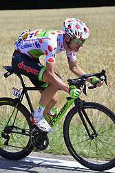 July 4, 2017 - Mondorf Les Bains / Vittel, Luxembourg / France - VITTEL, FRANCE - JULY 4 : BROWN Nathan (USA) Rider of Cannondale - Drapac team pictured in the polka dots jersey during stage 4 of the 104th edition of the 2017 Tour de France cycling race, a stage of 207.5 kms between Mondorf-Les-Bains and Vittel on July 04, 2017 in Vittel, France, 4/07/2017 (Credit Image: © Panoramic via ZUMA Press)