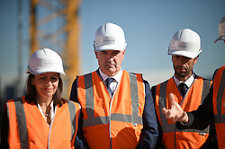 (L to R) Paris Mayor Anne Hidalgo, Prime Minister Jean Castex and President of the Paris Organizing Committee of the 2024 Olympic and Paralympic Games Tony Estanguet attend French President's visit to the construction site of the 2024 Olympic Games Village in Saint-Ouen on the outskirts of Paris, France on October 14, 2021, part of a visit to construction sites dedicated to the Paris 2024 Olympic and Paralympic Games. Photo by Eliot Blondet/ABACAPRESS.COM
