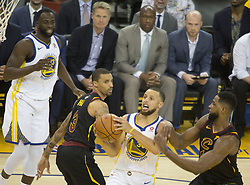 May 31, 2018 - Oakland, California, U.S - Stephen Curry #30 of the Golden State Warriors, goes for a  layup during  their NBA Championship Game 1 with the  Cleveland  Cavaliers at Oracle Arena in Oakland, California  on Thursday,  May 31, 2018. (Credit Image: © Prensa Internacional via ZUMA Wire)