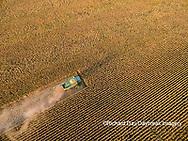 63801-08520 Corn Harvest, John Deere combine harvesting corn - aerial Marion Co. IL