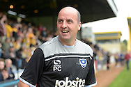 Paul Cook, the Portsmouth manager looking on before k/o. Skybet football league two match, Cambridge Utd v Portsmouth at the Abbey Stadium  in Cambridge on Saturday 10th October 2015.<br /> pic by John Patrick Fletcher, Andrew Orchard sports photography.