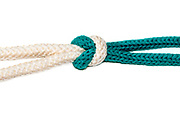 The Reef (Square) Knot on white background a Binder Knot is easy tied and will not jam, so it is always easy to untie