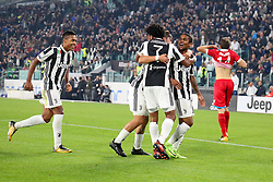 October 25, 2017 - Turin, Italy - Juan Cuadrado (Juventus FC) celebrates after scoring during the Serie A football match between Juventus FC and S.P.A.L. 2013 on 25 October 2017 at Allianz Stadium in Turin, Italy. (Credit Image: © Massimiliano Ferraro/NurPhoto via ZUMA Press)