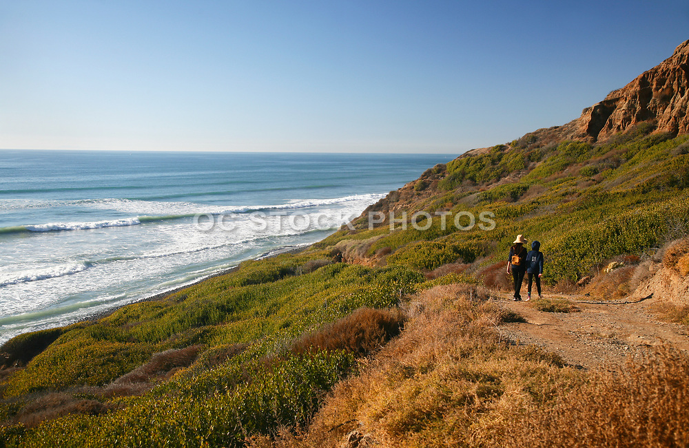 People Walking on Bluff Beach Trail 2 at San Onofre State Beach with a Pacific Ocean View