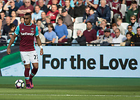 """Football - 2016 / 2017 Premier League - West Ham United vs. Middesborough <br /> <br /> Dimitri Payet of West Ham in front of a """"For the Love"""" sign at The London Stadium.<br /> <br /> COLORSPORT/DANIEL BEARHAM"""