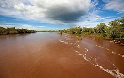 The Kimberley's Fitzroy River in flood.  In full flood, the river flows at 30,000 cubic meters per second.
