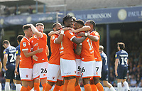 Blackpool's first goal, an own goal by Southend United's Harry Lennon celebrated by Blackpool<br /> <br /> Photographer Rob Newell/CameraSport<br /> <br /> The EFL Sky Bet Championship - Southend United v Blackpool - Saturday 10th August 2019 - Roots Hall - Southend<br /> <br /> World Copyright © 2019 CameraSport. All rights reserved. 43 Linden Ave. Countesthorpe. Leicester. England. LE8 5PG - Tel: +44 (0) 116 277 4147 - admin@camerasport.com - www.camerasport.com