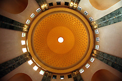 The dome ceiling inside one of main rooms in Saddam Hussein's Presidential Palace in Baghdad, Iraq, Sept. 29, 2003. According to Mowfaq Al-Tai, an Iraqi architect, who was one the the engineers involved in the construction and quality control of the Hussein palaces, the ceiling design was engraved out of solid bricks.