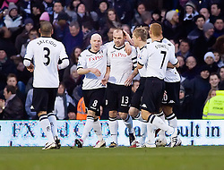 30.01.2011. Craven Cottage, London, ENG, FA Cup, Fulham v Tottenham Hotspurs, im Bild Fulham's Danny Murphy celebrates with team mates after opening the scoring from the penalty spot, Eon Energy FA Cup 4th Round, Fulham v Tottenham Hotspurs, Craven Cottage, 30/01/2011. EXPA Pictures © 2011, PhotoCredit: EXPA/ IPS/ Mark Greenwood +++++ ATTENTION - OUT OF ENGLAND/UK and FRANCE/FR +++++