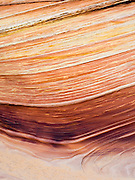 "Scene from the beautiful geological formation of colorful folded sandstone known as ""The Wave."" North Coyote Buttes, Vermillion Cliffs National Monument, Arizona."