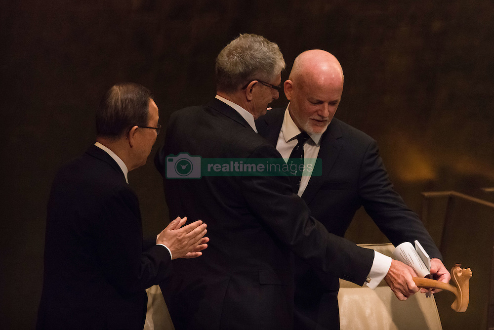 September 13, 2016 - New York, NY, United States - President of the 70th UN General Assembly Mogens Lykketoft (center) hands the General Assembly gavel to his successor Peter Thomson (right). At back-to-back plenary sessions, the United Nations marked the close of the General Assembly's 70th session and the opening of its 71st, with the swearing in of Peter Thomson of Fiji as incoming President of the General Assembly. (Credit Image: © Albin Lohr-Jones/Pacific Press via ZUMA Wire)
