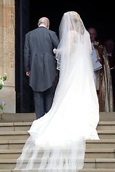 Lady Gabriella Windsor with her father Prince Michael of Kent arrive for her wedding to Thomas Kingston at St George's Chapel in Windsor Castle.