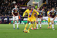 Christian Benteke of Crystal Palace scores his teams 2nd goal from the penalty spot. Premier League match, Burnley v Crystal Palace at Turf Moor in Burnley , Lancs on Saturday 5th November 2016.<br /> pic by Chris Stading, Andrew Orchard sports photography.